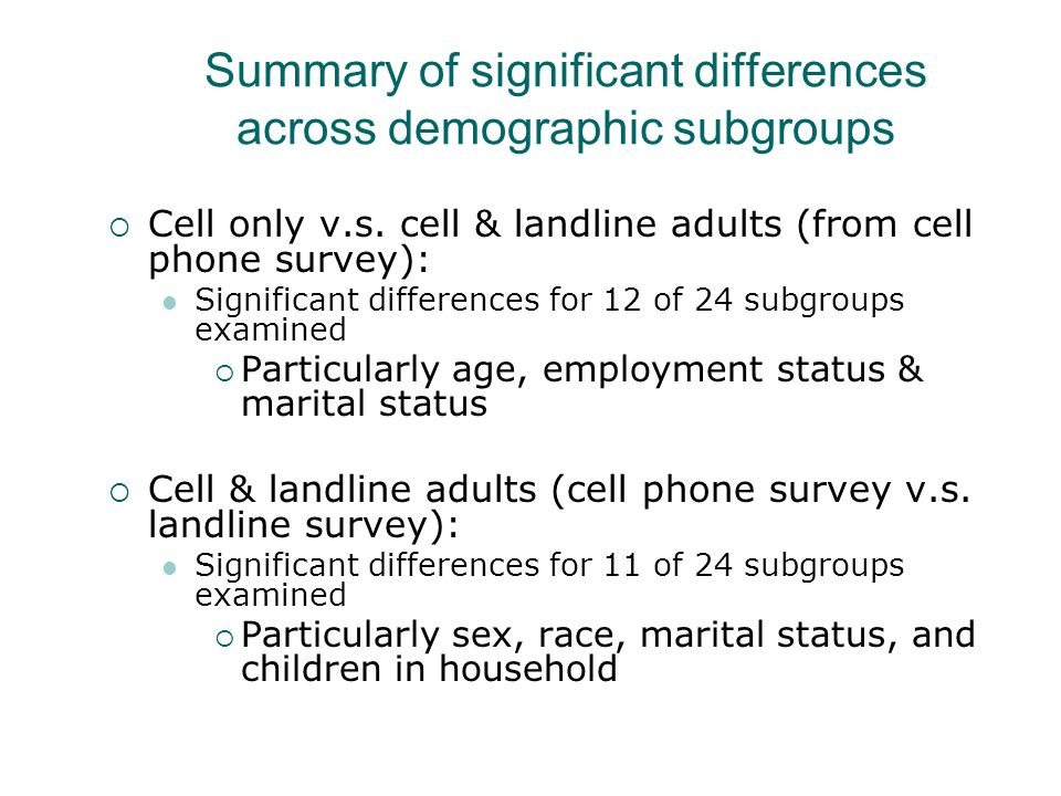 Summary of significant differences across demographic subgroups Cell only v.s.