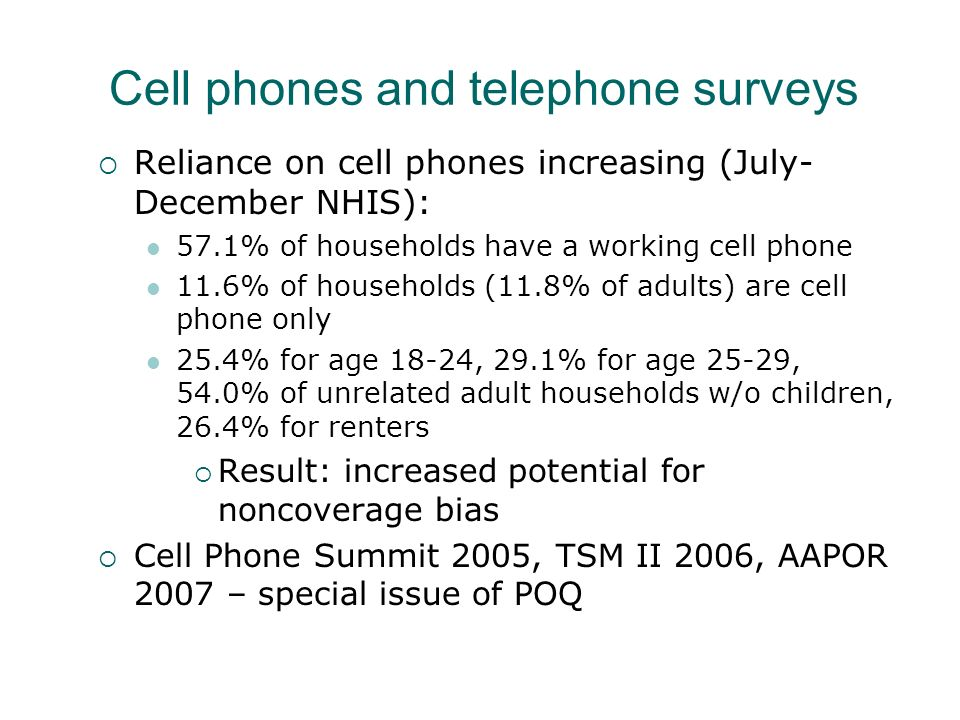 Cell phones and telephone surveys Reliance on cell phones increasing (July- December NHIS): 57.1% of households have a working cell phone 11.6% of hou