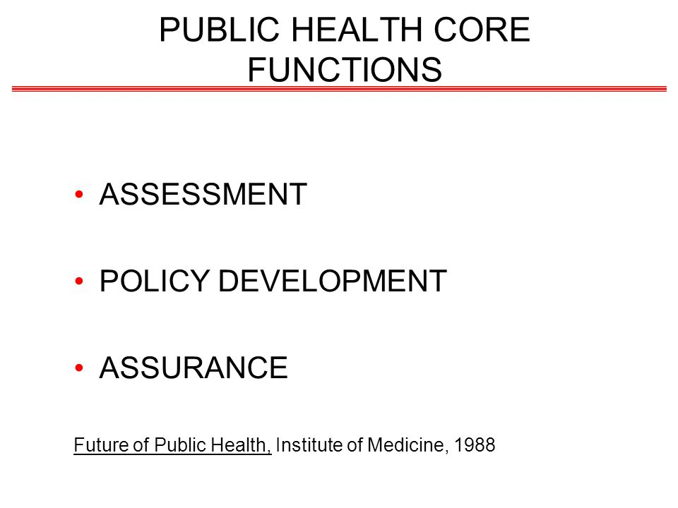 PUBLIC HEALTH CORE FUNCTIONS ASSESSMENT POLICY DEVELOPMENT ASSURANCE Future of Public Health, Institute of Medicine, 1988
