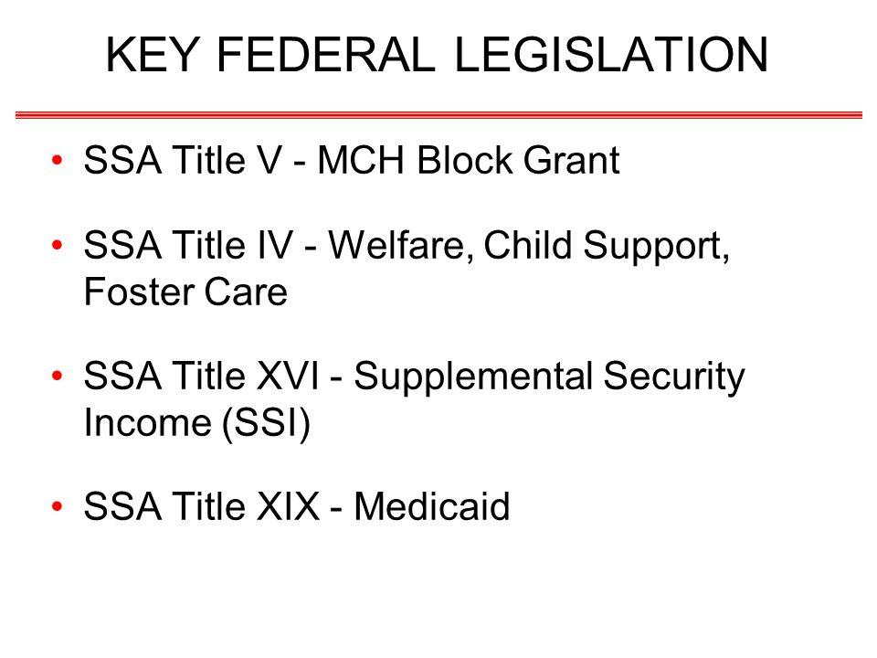KEY FEDERAL LEGISLATION SSA Title V - MCH Block Grant SSA Title IV - Welfare, Child Support, Foster Care SSA Title XVI - Supplemental Security Income