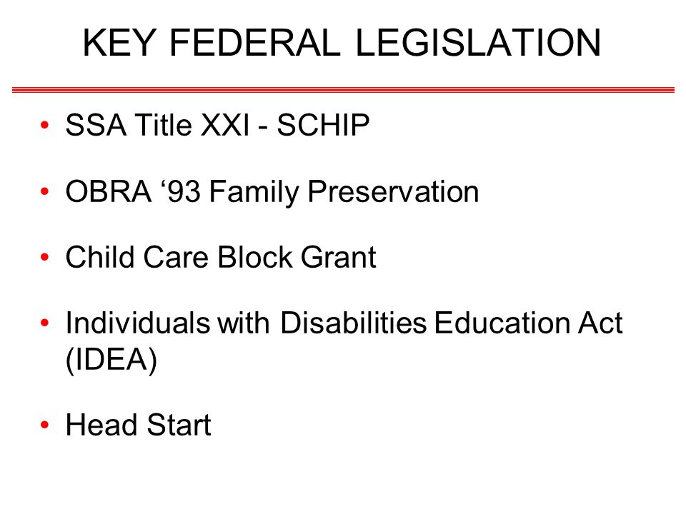 KEY FEDERAL LEGISLATION SSA Title XXI - SCHIP OBRA 93 Family Preservation Child Care Block Grant Individuals with Disabilities Education Act (IDEA) He