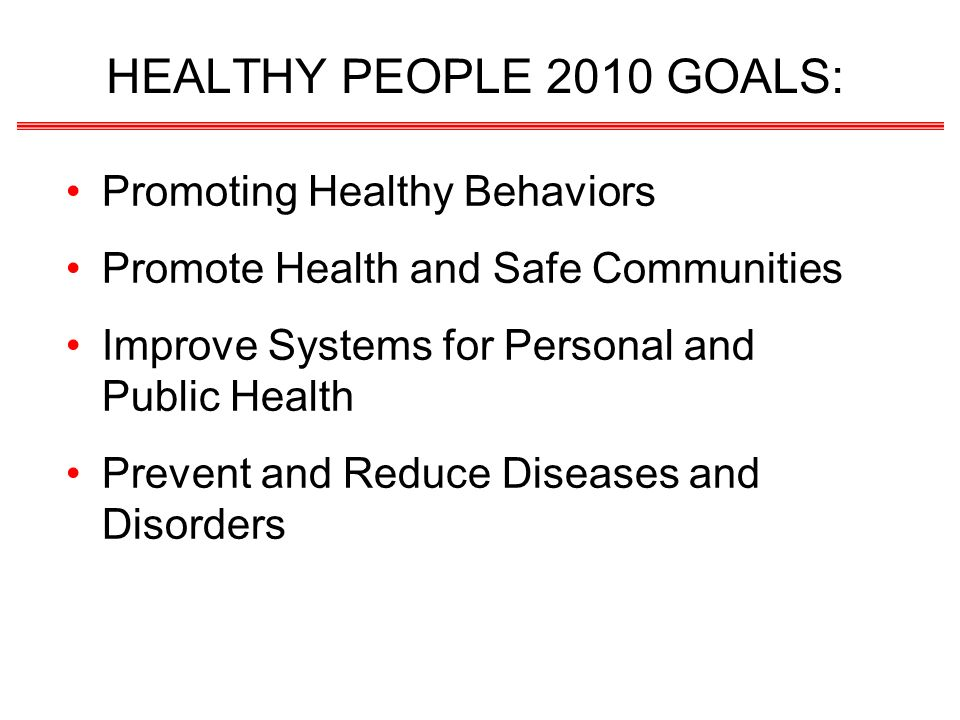 HEALTHY PEOPLE 2010 GOALS: Promoting Healthy Behaviors Promote Health and Safe Communities Improve Systems for Personal and Public Health Prevent and Reduce Diseases and Disorders
