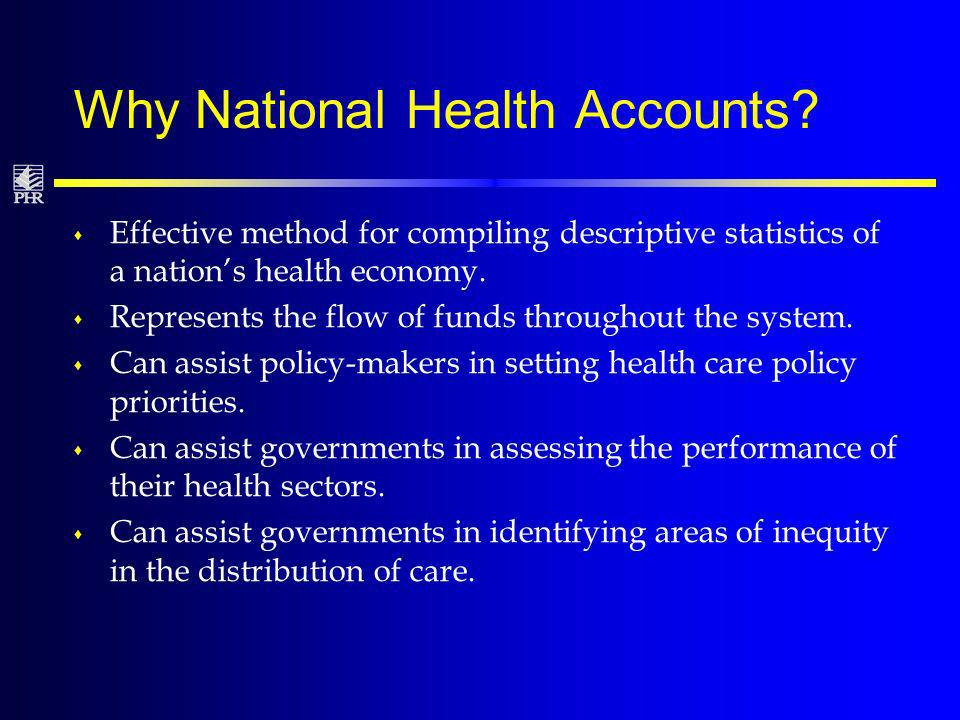 Why National Health Accounts.