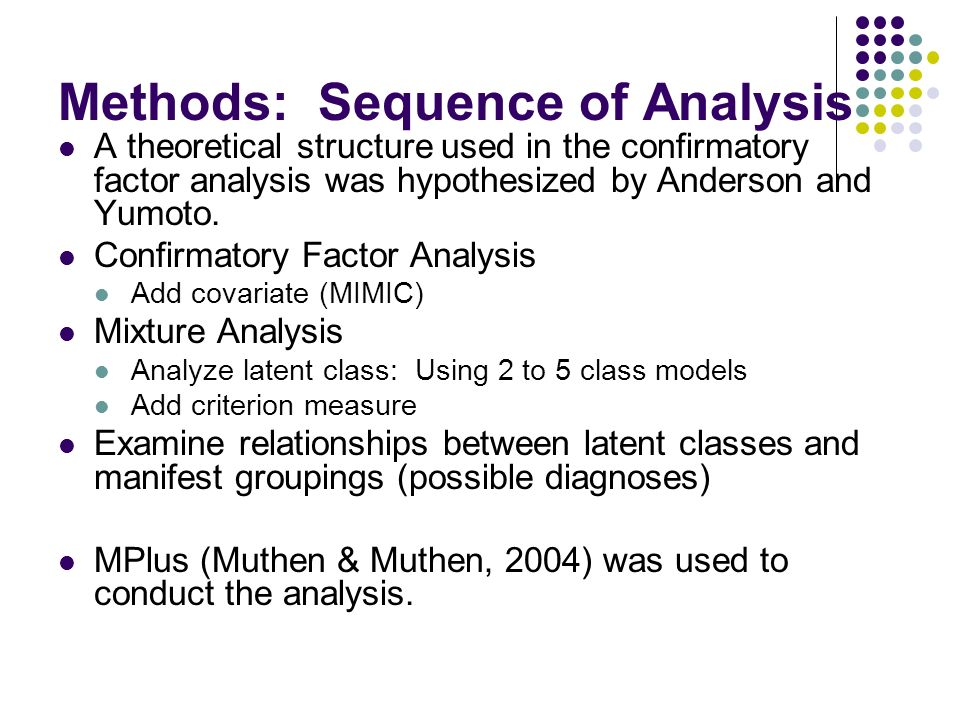 Methods: Sequence of Analysis A theoretical structure used in the confirmatory factor analysis was hypothesized by Anderson and Yumoto.