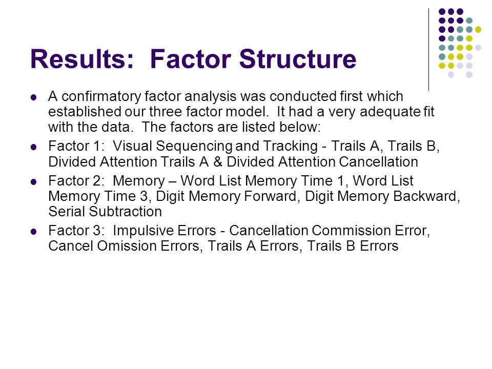 Results: Factor Structure A confirmatory factor analysis was conducted first which established our three factor model.
