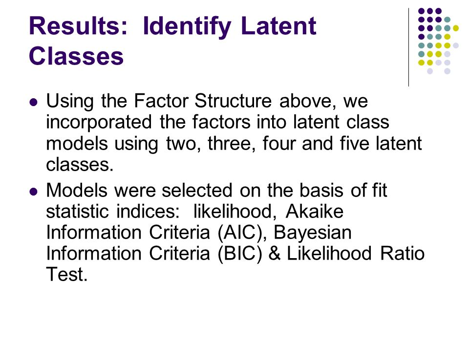 Results: Identify Latent Classes Using the Factor Structure above, we incorporated the factors into latent class models using two, three, four and five latent classes.