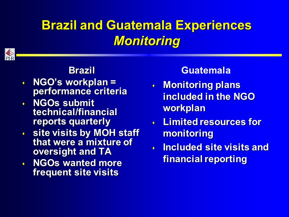 Brazil and Guatemala Experiences Monitoring Brazil NGOs workplan = performance criteria NGOs workplan = performance criteria NGOs submit technical/financial reports quarterly NGOs submit technical/financial reports quarterly site visits by MOH staff that were a mixture of oversight and TA site visits by MOH staff that were a mixture of oversight and TA NGOs wanted more frequent site visits NGOs wanted more frequent site visits Monitoring plans included in the NGO workplan Monitoring plans included in the NGO workplan Limited resources for monitoring Limited resources for monitoring Included site visits and financial reporting Included site visits and financial reporting Guatemala