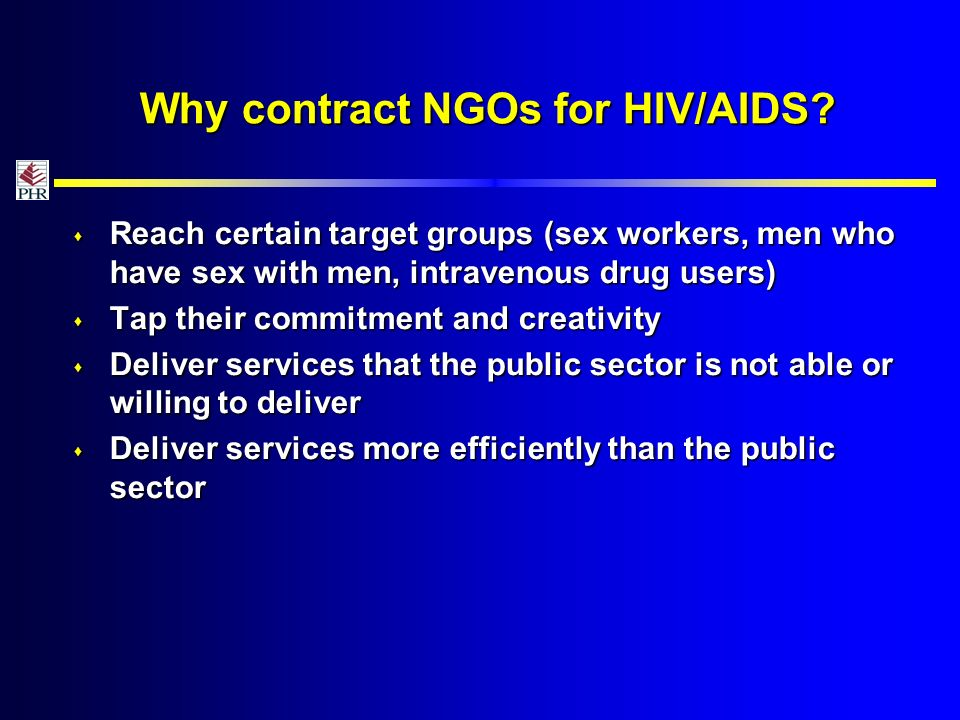 Why contract NGOs for HIV/AIDS.