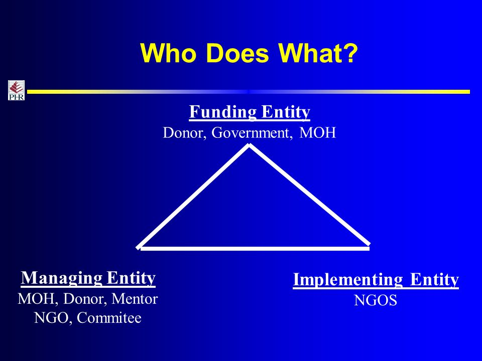 Funding Entity Donor, Government, MOH Managing Entity MOH, Donor, Mentor NGO, Commitee Implementing Entity NGOS Who Does What
