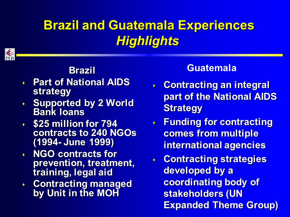 Brazil and Guatemala Experiences Highlights Brazil and Guatemala Experiences Highlights Brazil Part of National AIDS strategy Part of National AIDS strategy Supported by 2 World Bank loans Supported by 2 World Bank loans $25 million for 794 contracts to 240 NGOs (1994- June 1999) $25 million for 794 contracts to 240 NGOs (1994- June 1999) NGO contracts for prevention, treatment, training, legal aid NGO contracts for prevention, treatment, training, legal aid Contracting managed by Unit in the MOH Contracting managed by Unit in the MOH Contracting an integral part of the National AIDS Strategy Contracting an integral part of the National AIDS Strategy Funding for contracting comes from multiple international agencies Funding for contracting comes from multiple international agencies Contracting strategies developed by a coordinating body of stakeholders (UN Expanded Theme Group) Contracting strategies developed by a coordinating body of stakeholders (UN Expanded Theme Group) Guatemala