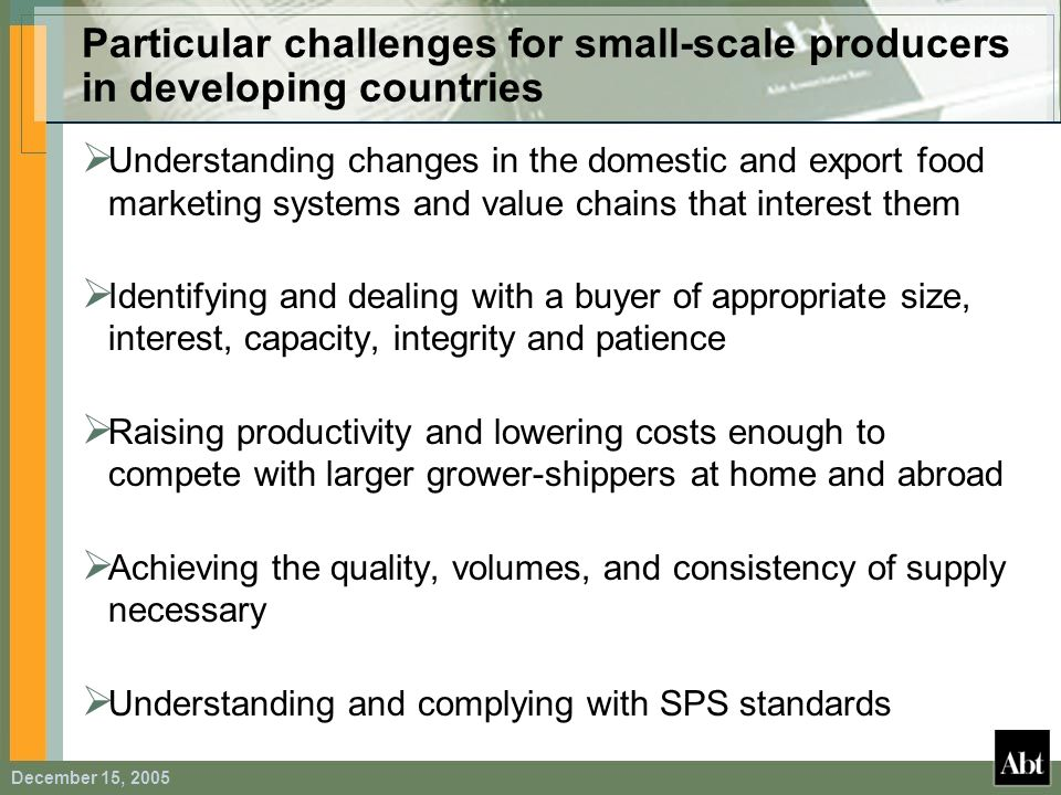 December 15, 2005 Particular challenges for small-scale producers in developing countries Understanding changes in the domestic and export food market