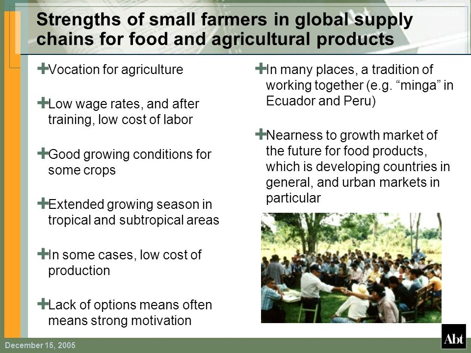 December 15, 2005 Strengths of small farmers in global supply chains for food and agricultural products Vocation for agriculture Low wage rates, and a
