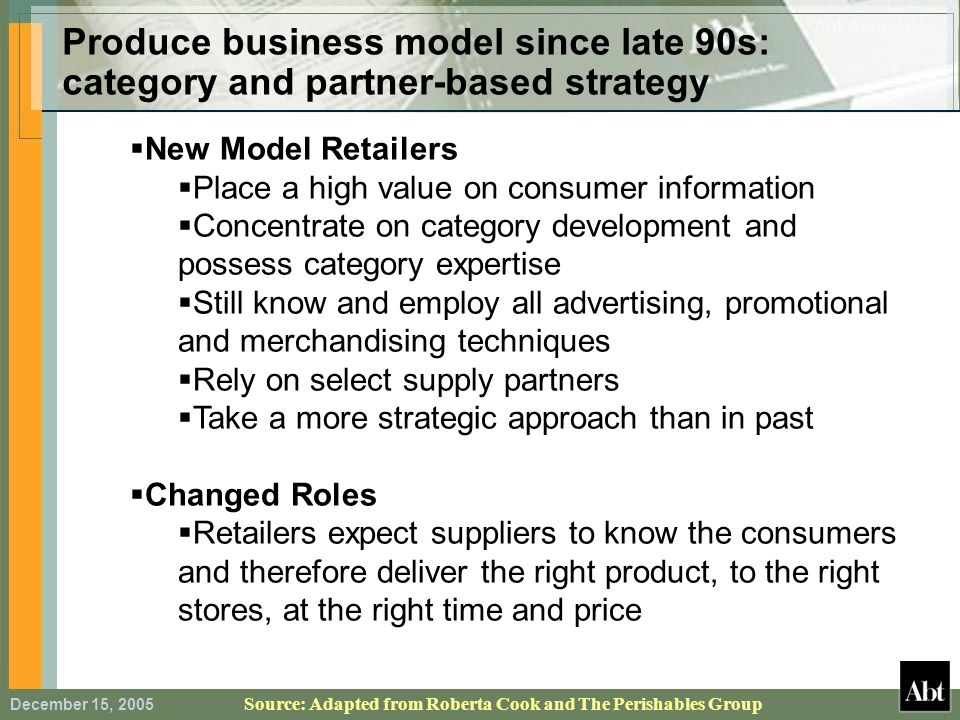 December 15, 2005 Produce business model since late 90s: category and partner-based strategy Source: Adapted from Roberta Cook and The Perishables Gro