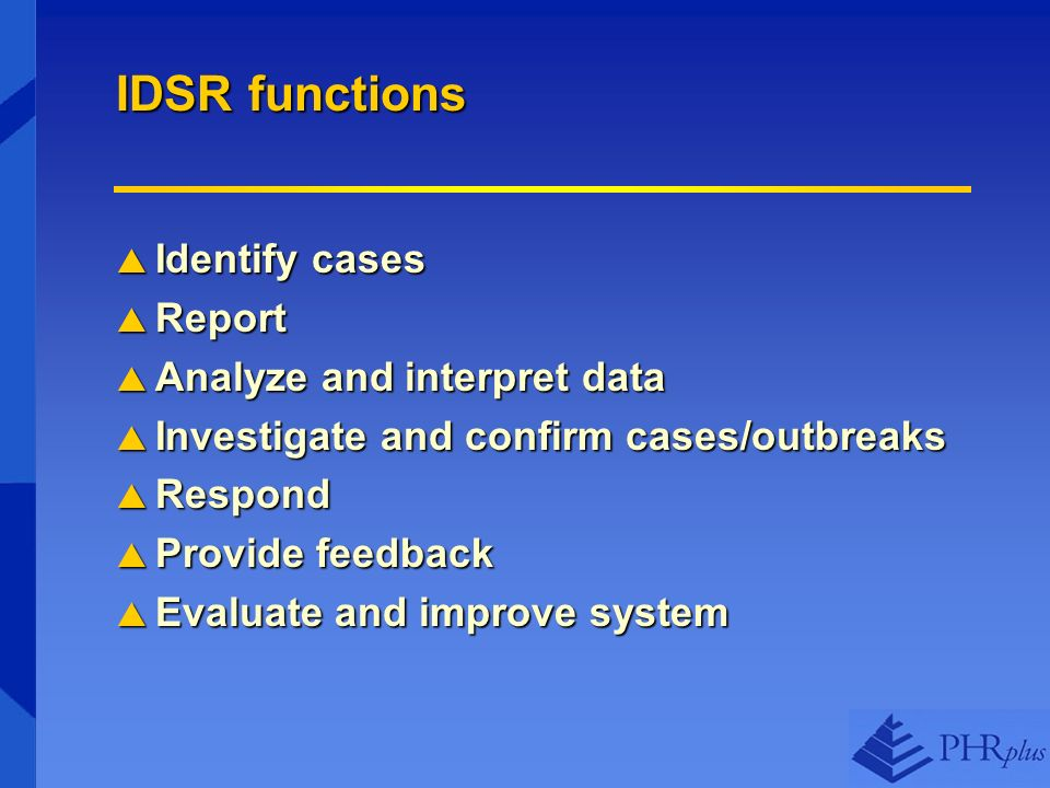 IDSR functions Identify cases Identify cases Report Report Analyze and interpret data Analyze and interpret data Investigate and confirm cases/outbreaks Investigate and confirm cases/outbreaks Respond Respond Provide feedback Provide feedback Evaluate and improve system Evaluate and improve system
