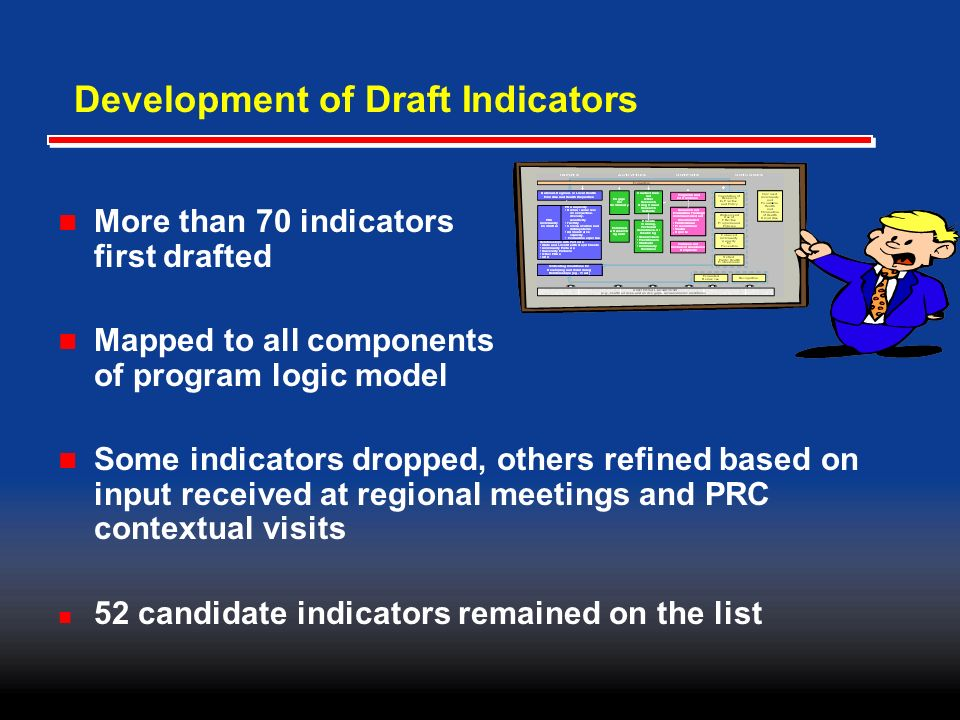 Development of Draft Indicators More than 70 indicators first drafted Mapped to all components of program logic model Some indicators dropped, others refined based on input received at regional meetings and PRC contextual visits 52 candidate indicators remained on the list