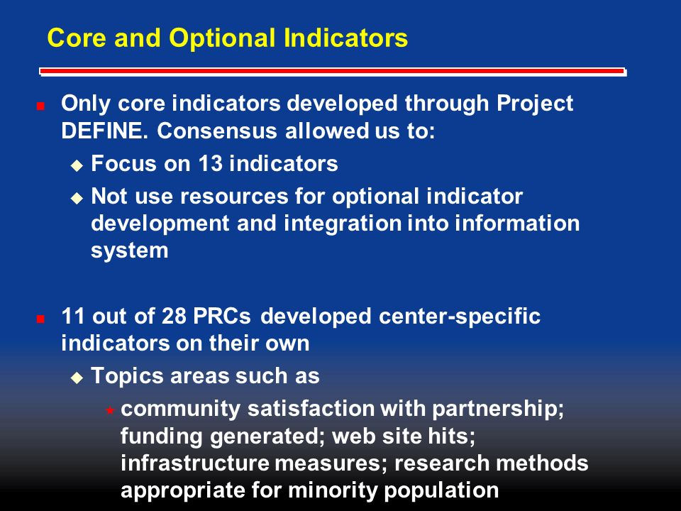 Core and Optional Indicators Only core indicators developed through Project DEFINE.