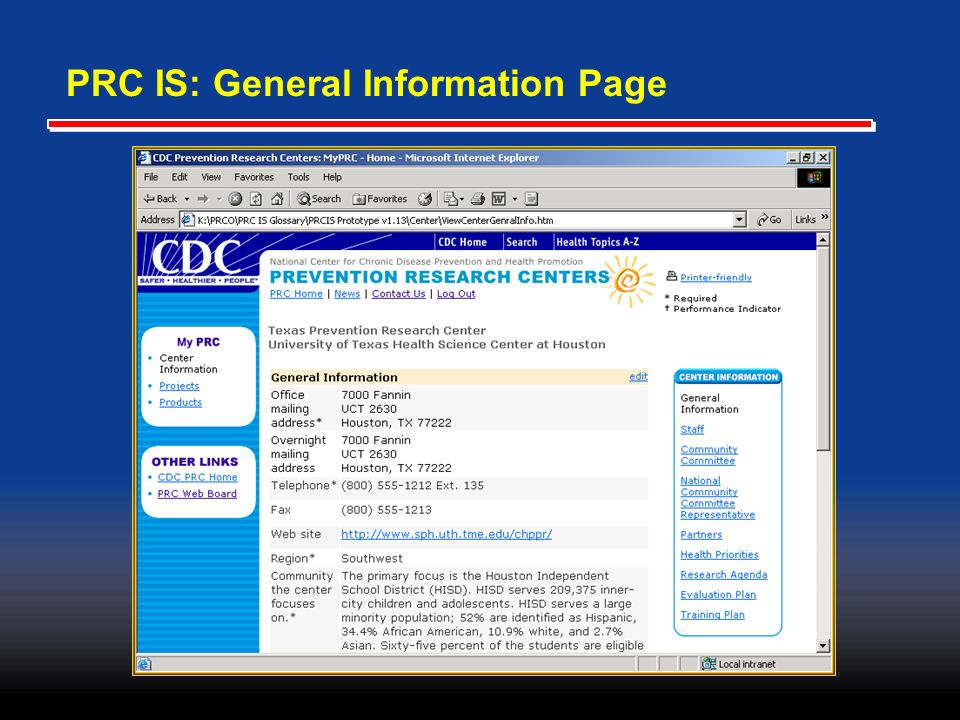 PRC IS: General Information Page