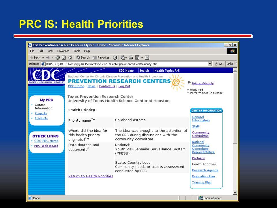 PRC IS: Health Priorities