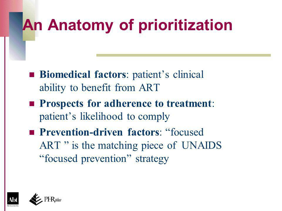 An Anatomy of prioritization Biomedical factors: patients clinical ability to benefit from ART Prospects for adherence to treatment: patients likelihood to comply Prevention-driven factors: focused ART is the matching piece of UNAIDS focused prevention strategy