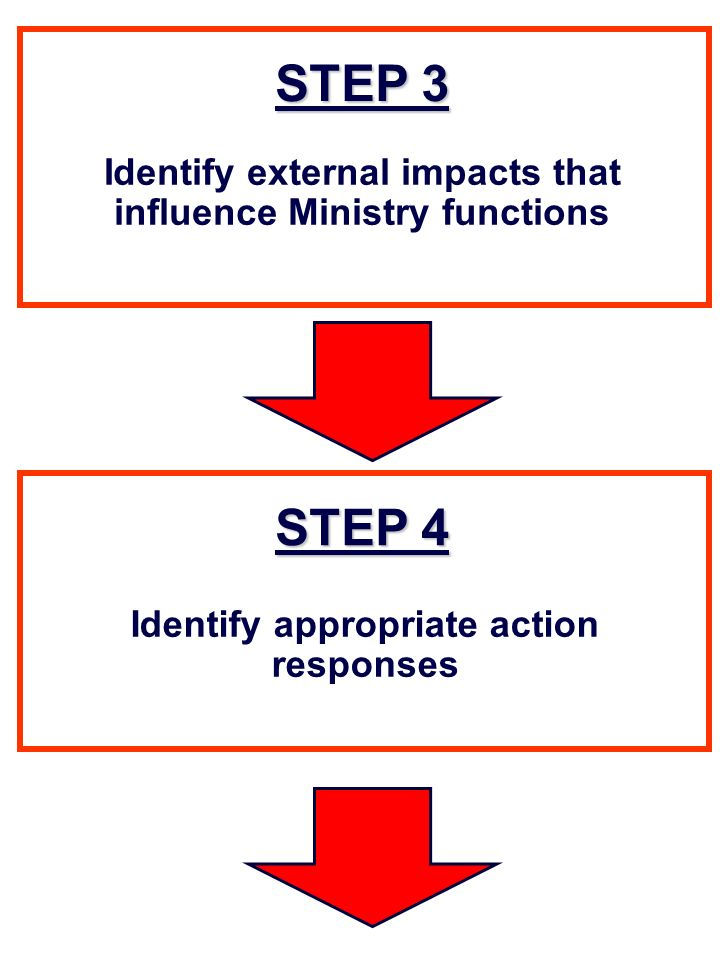 STEP 3 Identify external impacts that influence Ministry functions STEP 4 Identify appropriate action responses