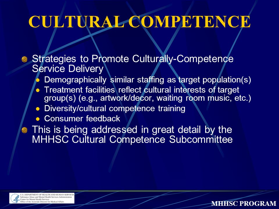 MHHSC PROGRAM CULTURAL COMPETENCE Strategies to Promote Culturally-Competence Service Delivery Demographically similar staffing as target population(s) Treatment facilities reflect cultural interests of target group(s) (e.g., artwork/decor, waiting room music, etc.) Diversity/cultural competence training Consumer feedback This is being addressed in great detail by the MHHSC Cultural Competence Subcommittee