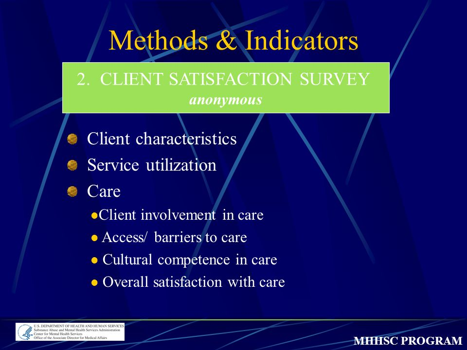 MHHSC PROGRAM Methods & Indicators 2.CLIENT SATISFACTION SURVEY anonymous Client characteristics Service utilization Care Client involvement in care Access/ barriers to care Cultural competence in care Overall satisfaction with care