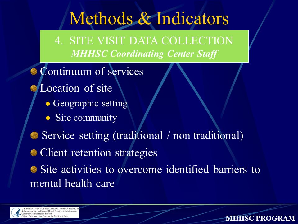 MHHSC PROGRAM Methods & Indicators 4.SITE VISIT DATA COLLECTION MHHSC Coordinating Center Staff Continuum of services Location of site Geographic setting Site community Service setting (traditional / non traditional) Client retention strategies Site activities to overcome identified barriers to mental health care
