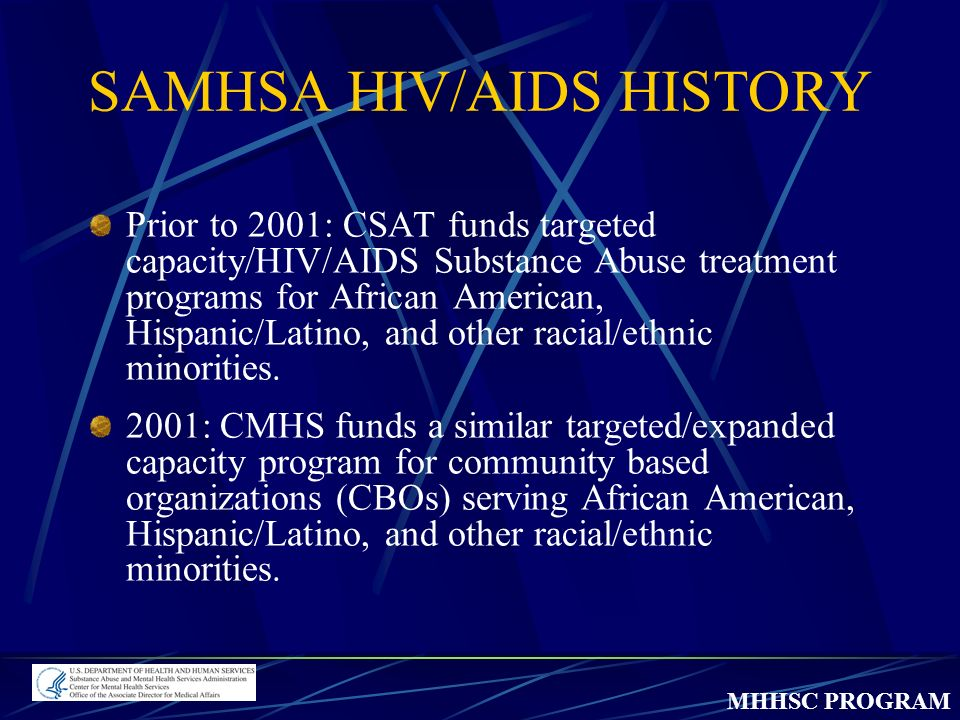 MHHSC PROGRAM SAMHSA HIV/AIDS HISTORY Prior to 2001: CSAT funds targeted capacity/HIV/AIDS Substance Abuse treatment programs for African American, Hispanic/Latino, and other racial/ethnic minorities.
