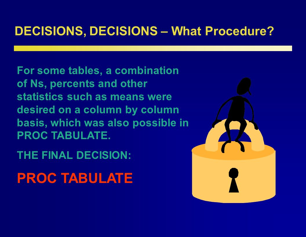 DECISIONS, DECISIONS – What Procedure. It all comes down to comfort level.