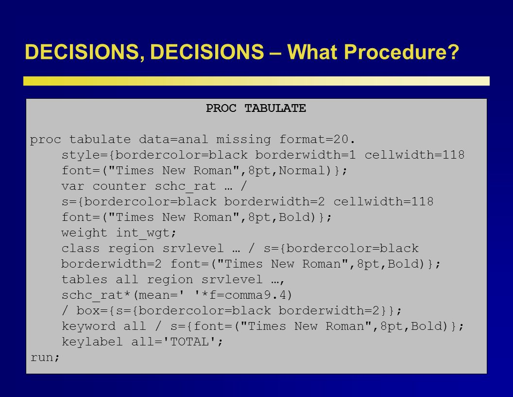 DECISIONS, DECISIONS – What Procedure. The choice of a procedure is much more difficult.