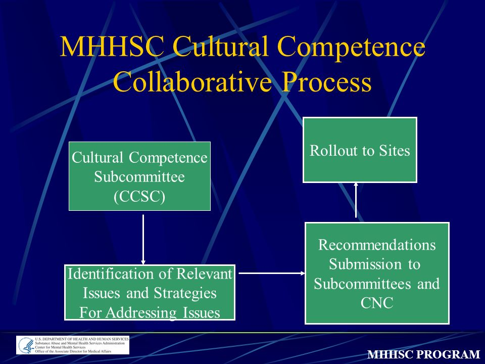 MHHSC PROGRAM MHHSC Cultural Competence Collaborative Process Cultural Competence Subcommittee (CCSC) Identification of Relevant Issues and Strategies For Addressing Issues Recommendations Submission to Subcommittees and CNC Rollout to Sites
