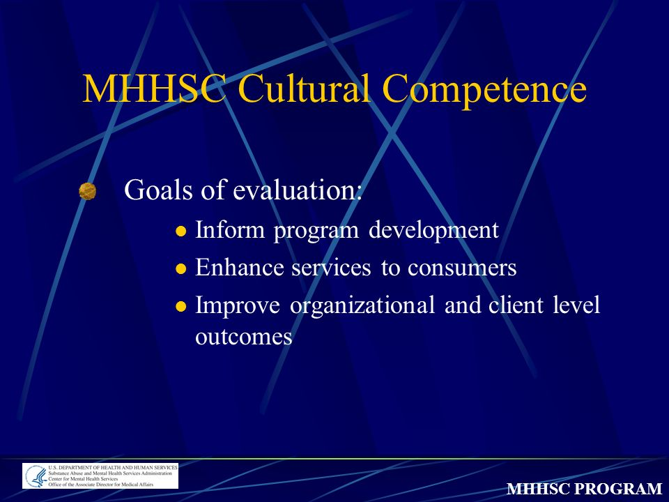 MHHSC PROGRAM MHHSC Cultural Competence Goals of evaluation: Inform program development Enhance services to consumers Improve organizational and client level outcomes