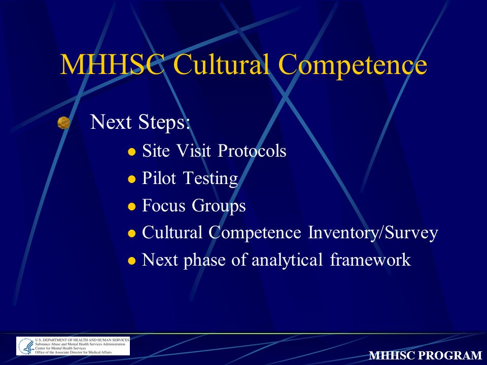 MHHSC PROGRAM MHHSC Cultural Competence Next Steps: Site Visit Protocols Pilot Testing Focus Groups Cultural Competence Inventory/Survey Next phase of analytical framework