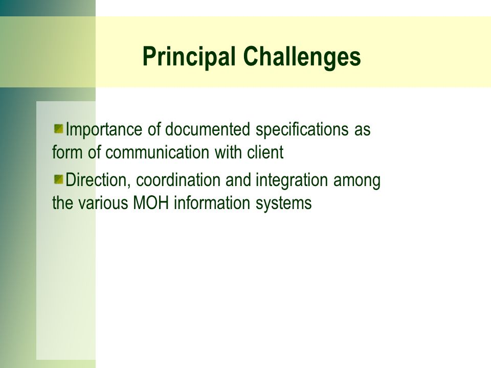 Principal Challenges Importance of documented specifications as form of communication with client Direction, coordination and integration among the various MOH information systems