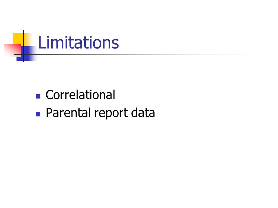 Limitations Correlational Parental report data