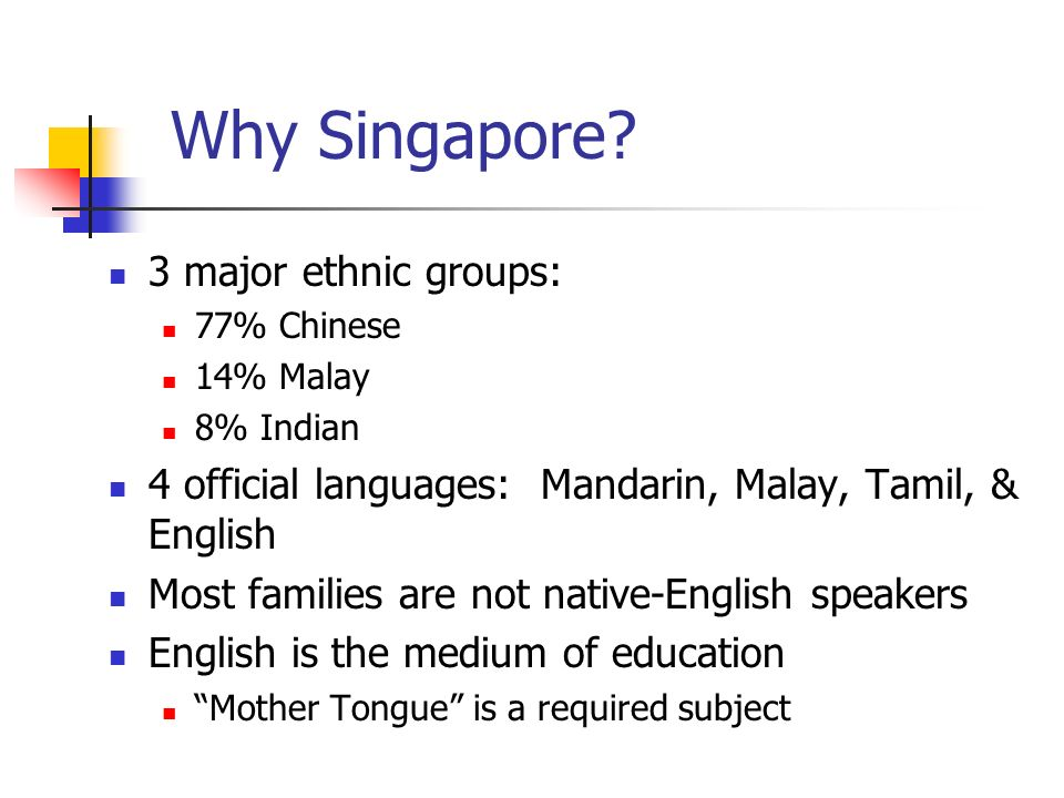 Why Singapore? 3 major ethnic groups: 77% Chinese 14% Malay 8% Indian 4 official languages: Mandarin, Malay, Tamil, & English Most families are not na