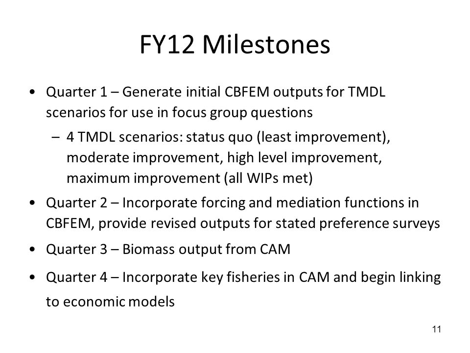FY12 Milestones Quarter 1 – Generate initial CBFEM outputs for TMDL scenarios for use in focus group questions –4 TMDL scenarios: status quo (least im