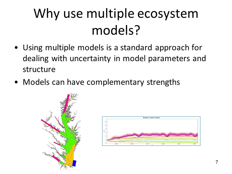 Why use multiple ecosystem models? Using multiple models is a standard approach for dealing with uncertainty in model parameters and structure Models
