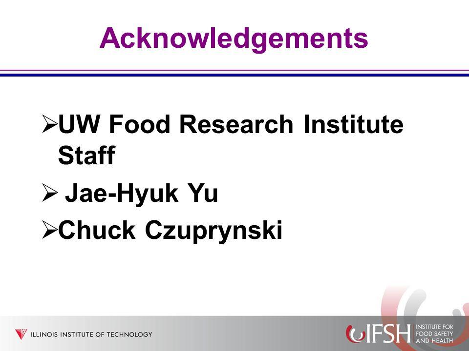 Acknowledgements UW Food Research Institute Staff Jae-Hyuk Yu Chuck Czuprynski