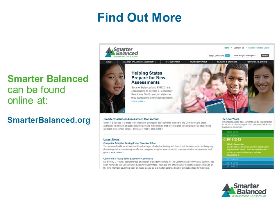 Find Out More Smarter Balanced can be found online at: SmarterBalanced.org