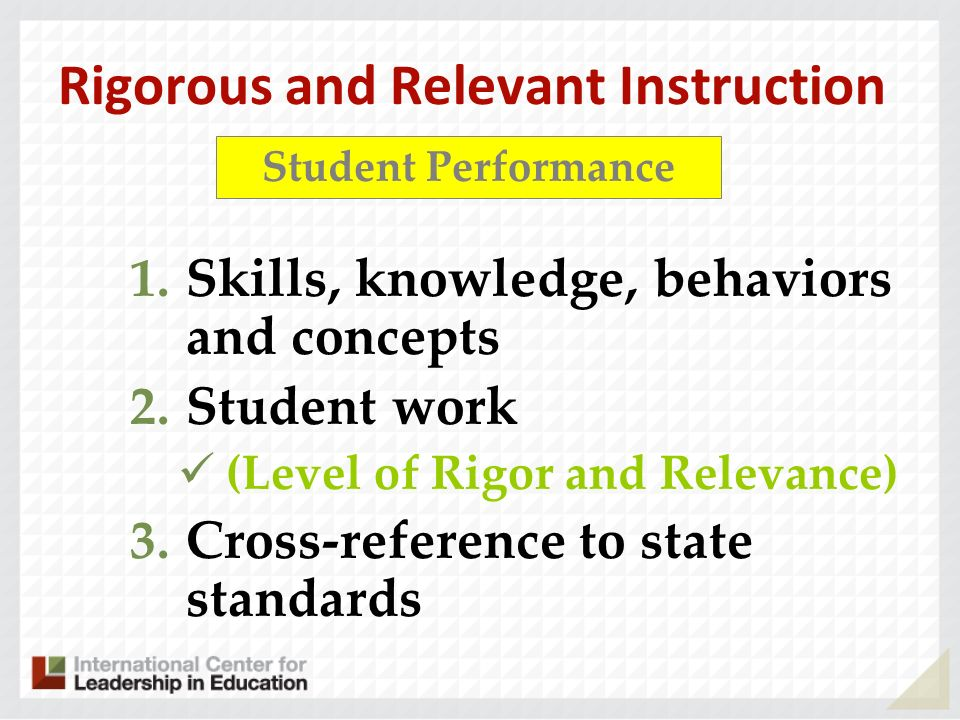 Rigorous and Relevant Instruction 1.Skills, knowledge, behaviors and concepts 2.Student work (Level of Rigor and Relevance) 3.Cross-reference to state