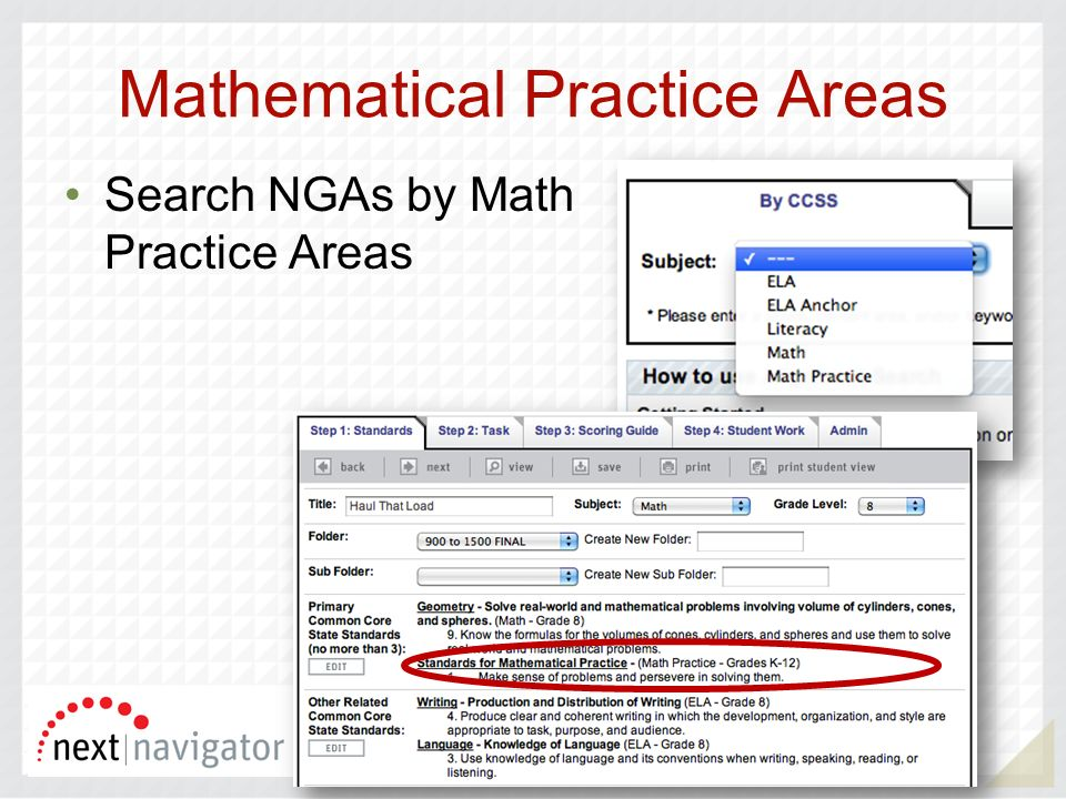Mathematical Practice Areas Search NGAs by Math Practice Areas