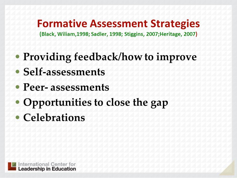 Formative Assessment Strategies (Black, Wiliam,1998; Sadler, 1998; Stiggins, 2007;Heritage, 2007) Providing feedback/how to improve Self-assessments P
