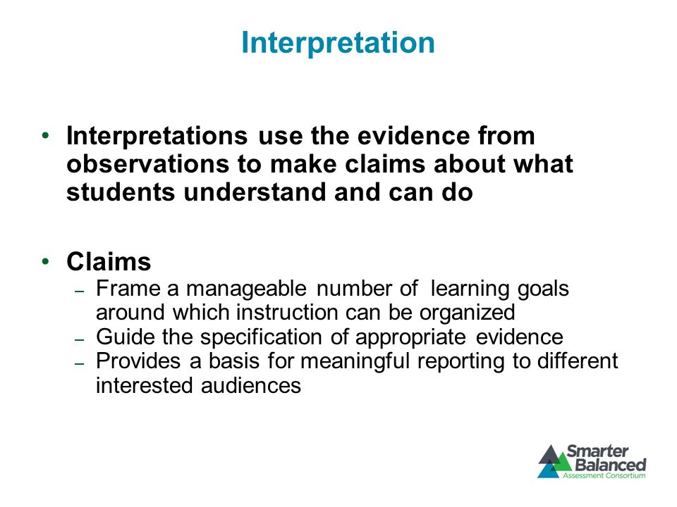 Performance Task Guidelines Integrate knowledge and skills across multiple standards or strands Measure capacities such as depth of understanding, research skills, complex analysis, and identification/providing of relevant evidence Require student-initiated planning, management of information and ideas, interaction with other materials 39