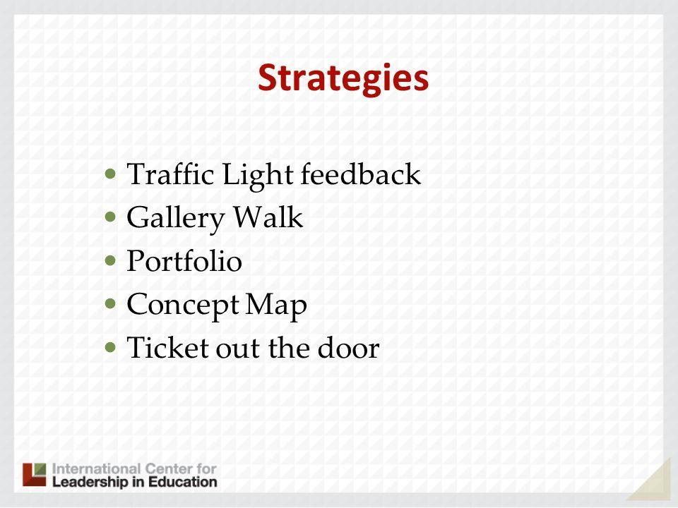 Strategies Traffic Light feedback Gallery Walk Portfolio Concept Map Ticket out the door
