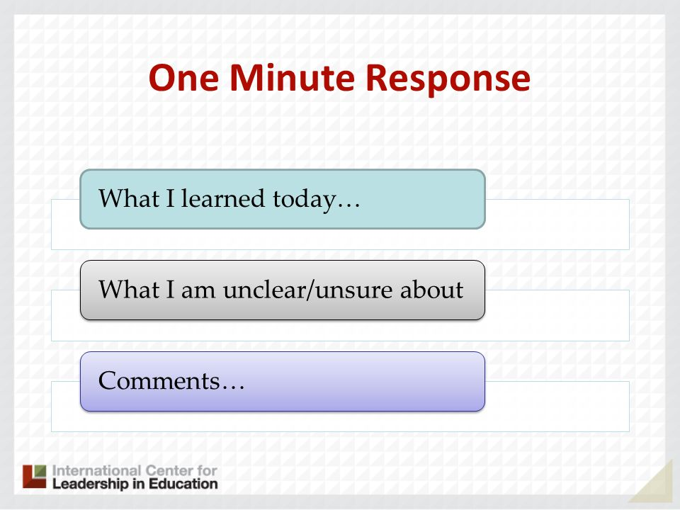 One Minute Response What I learned today…What I am unclear/unsure aboutComments…