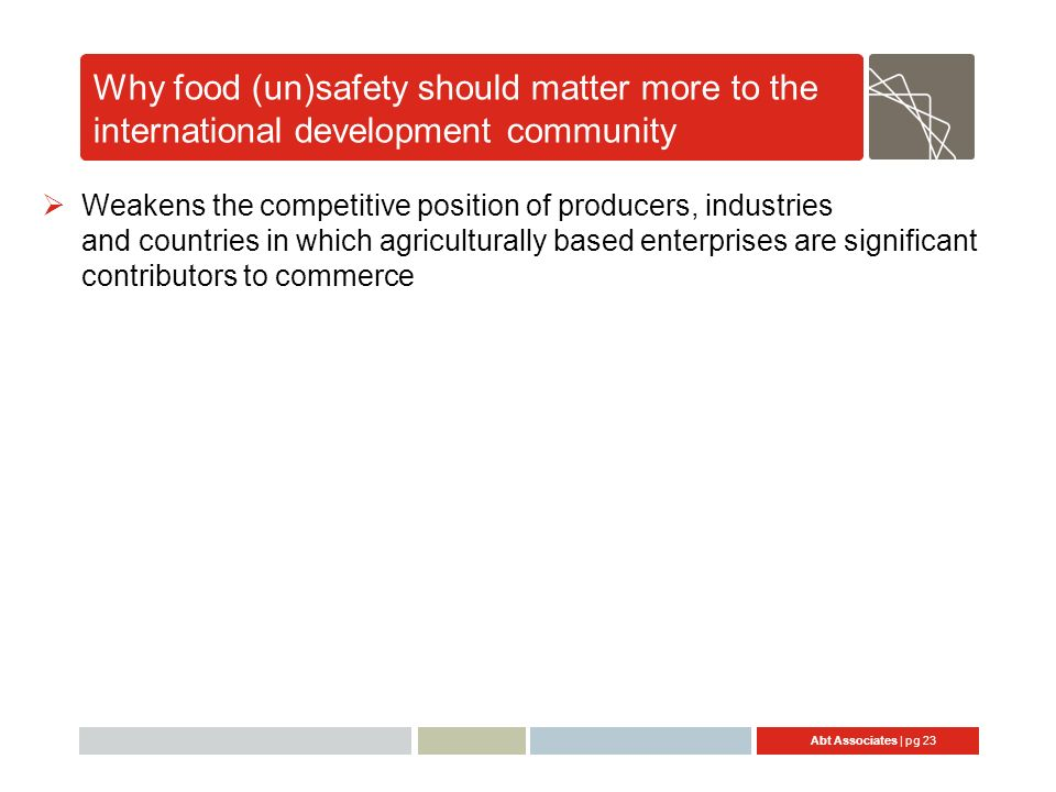 Abt Associates | pg 23 Why food (un)safety should matter more to the international development community Weakens the competitive position of producers, industries and countries in which agriculturally based enterprises are significant contributors to commerce