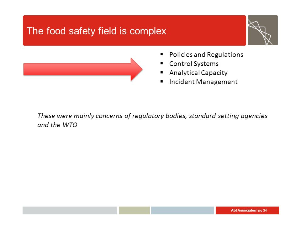 Abt Associates | pg 34 The food safety field is complex Policies and Regulations Control Systems Analytical Capacity Incident Management These were mainly concerns of regulatory bodies, standard setting agencies and the WTO
