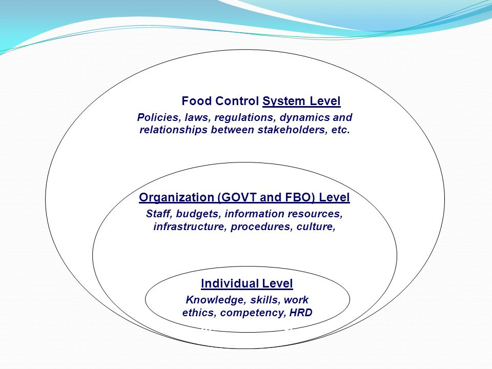 Food Food Control System Level Policies, laws, regulations, dynamics and relationships between stakeholders, etc. a Policies, laws, regulations, dynam