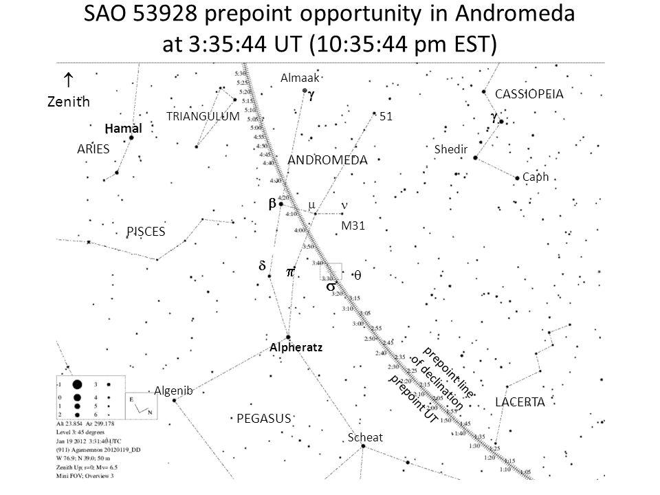SAO 53928 prepoint opportunity in Andromeda at 3:35:44 UT (10:35:44 pm EST) Zenith Hamal ARIES TRIANGULUM PISCES PEGASUS ANDROMEDA CASSIOPEIA LACERTA Alpheratz Algenib Scheat Almaak 51 M31 Caph Shedir prepoint line of declination prepoint UT